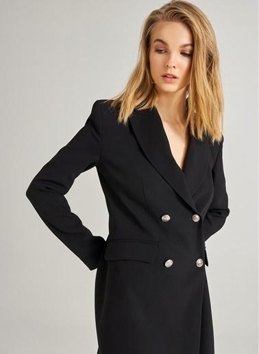 Monamoda Kruvaze Düğme Detaylı Ceket Elbise Siyah